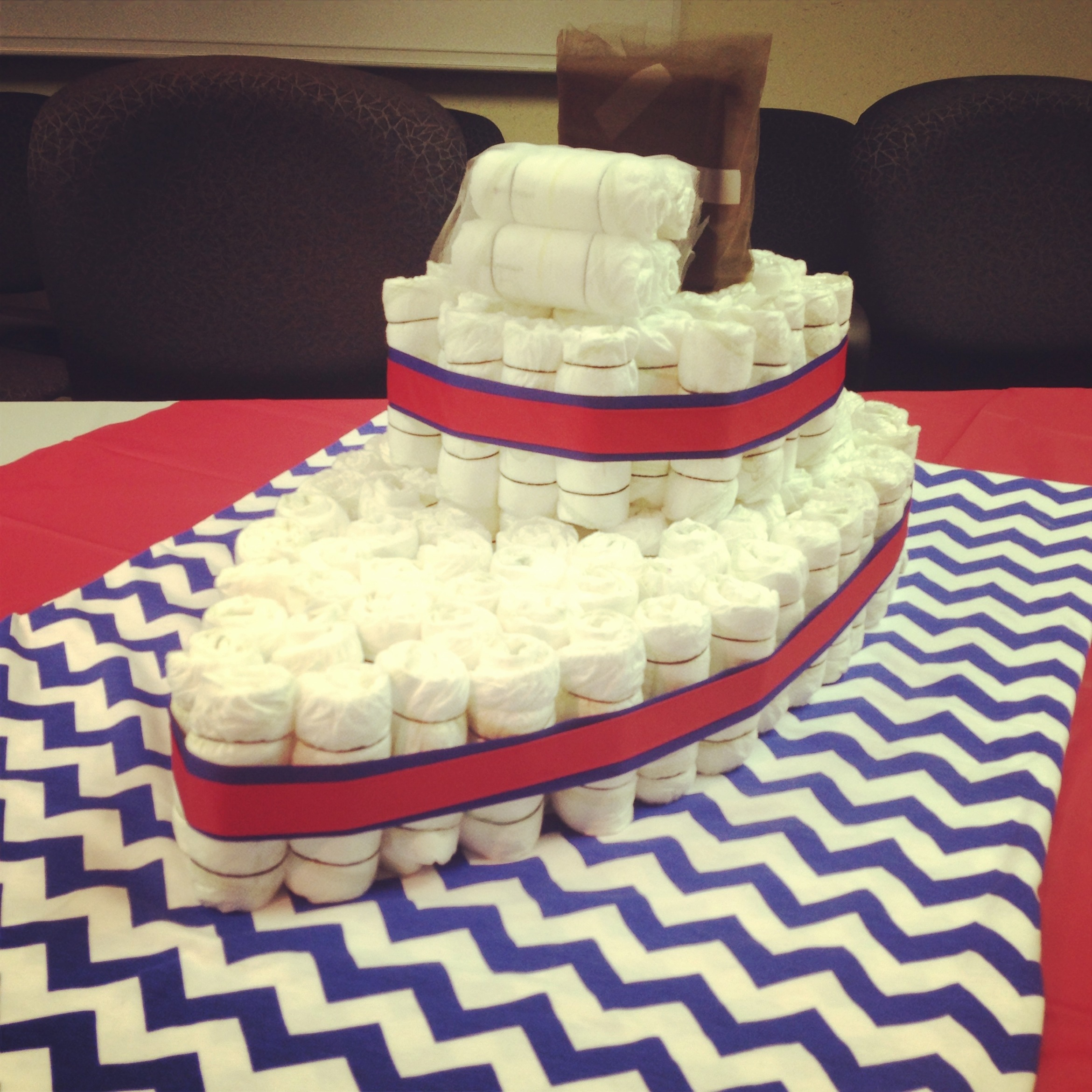 Nautical Theme Baby Shower Boat Diaper Cake Starring The Middle